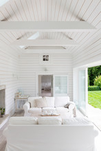 White Wood Shiplap A-frame Home Showcase Living Room