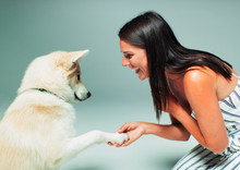 Smiling Woman Shaking Dogs Paw