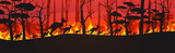 Fototapeta Fototapety na ścianę do pokoju dziecięcego - silhouettes of kangaroos running from forest fires in australia animals dying in wildfire bushfire burning trees natural disaster concept intense orange flames horizontal vector illustration