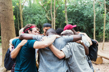 Men Friends Hugging In Huddle ...