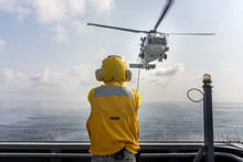 Helicopter Deck Officer Give H...
