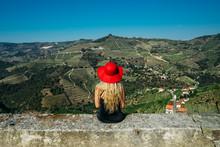 Woman In Red Hat Enjoying Sunn...