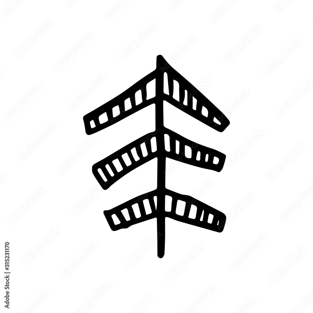Fototapeta Absctract nordic design of tree for decoration interior, print posters, greating card, bussines banner, wrapping in modern scandinavian style in vector
