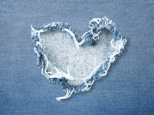 Heart Shape Ripped Jean Denim ...