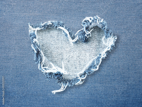 Fotografie, Tablou Heart shape ripped jean denim texture
