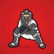 Baseball Player Action Cartoon Sport Graphic Vector.