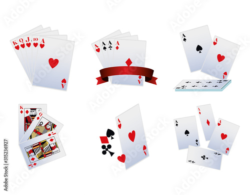 playing cards icon set, colorful design Wallpaper Mural
