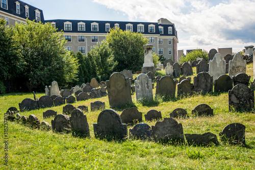Photo Old Gravestones in Cemetery Graveyard