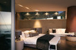 Illuminated luxury home showcase interior bedroom