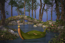 Forest Lake With A Leaf Boat F...