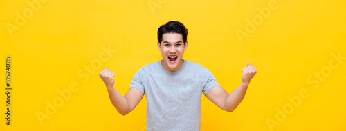 Cuadros en Lienzo Excited young Asian man raising his fists with smiling delighted face