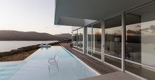 Modern Luxury Home Showcase Exterior With Infinity Pool And Ocean View