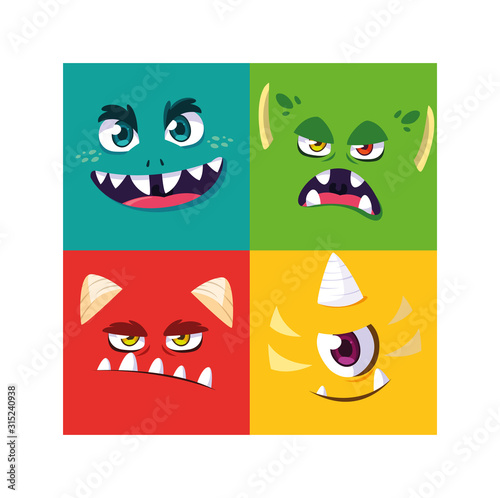 set of colorful alien monsters Canvas Print