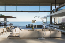 Modern, Luxury Home Showcase Interior Living Room Open To Ocean View