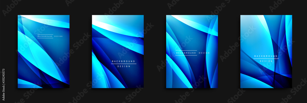 Fototapeta Wave covers set with fluid gradients. Dynamic trendy abstract background with flowing wavy lines. Vector Illustration