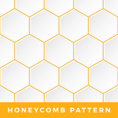 White Honeycomb vector seamless pattern. Vector natural honey background.