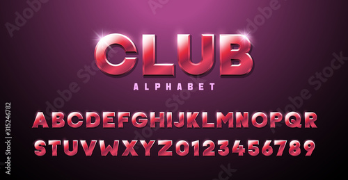 Obraz Pink Red three dimensional font effect. Club alphabet premium modern retro typography elements based on clubs, discos, music events, games, trendy and glamorous subjects. Mettalic luxury 3d typeface - fototapety do salonu