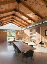 Home Showcase Interior Dining Room With Wood Vaulted Ceiling