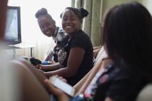 Happy Tween Girl Friends Playi...