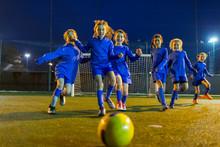 Girls Soccer Team Playing, Run...