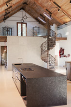 Home Showcase Interior Kitchen With Vaulted Ceiling And Spiral Staircase Loft