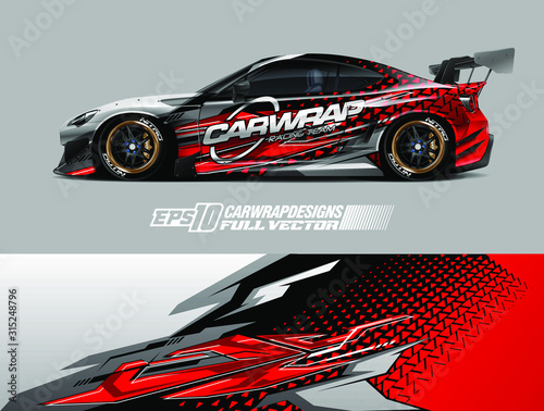 Fototapeta Car wrap design vector. Graphic abstract stripe racing background designs for wrap cargo van, race car, pickup truck, adventure vehicle. Eps 10 obraz