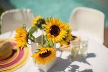 Sunflowers On Sunny Poolside P...