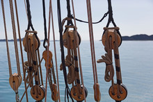 Wooden Sailboat Pulleys And Ri...