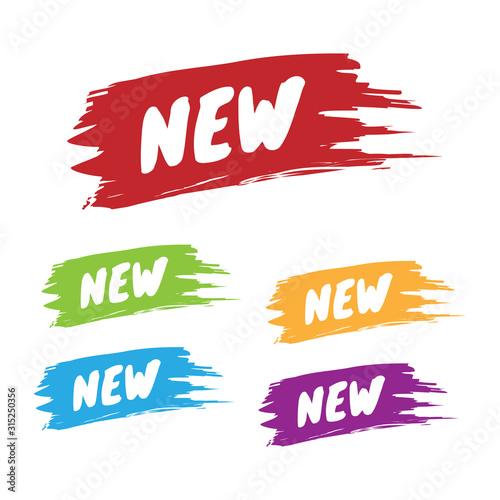 Fotografía Colorful Set of New Brushed Labels