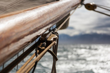 Close Up Wooden Sailboat Mast And Rigging