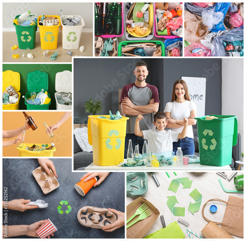 Obraz Collage of photos with different types of garbage. Concept of recycling - fototapety do salonu