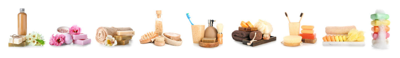 Fototapeta na wymiar Composition with spa items on white background