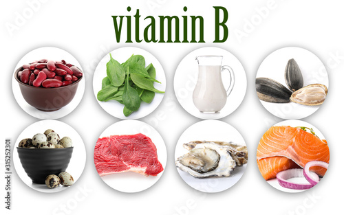 Set of products rich in vitamin B on white background Wallpaper Mural