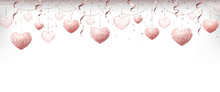 Happy Valentines Day Background With Rose Gold Glitter Garland, Confetti, Glossy And Glass Hearts, Ribbons.