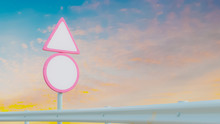 Empty Pink Road Sign Mock-Up