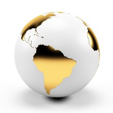 White And Gold Globe, Illustra...