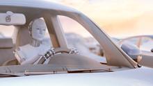 Robot Driving Car, Illustration