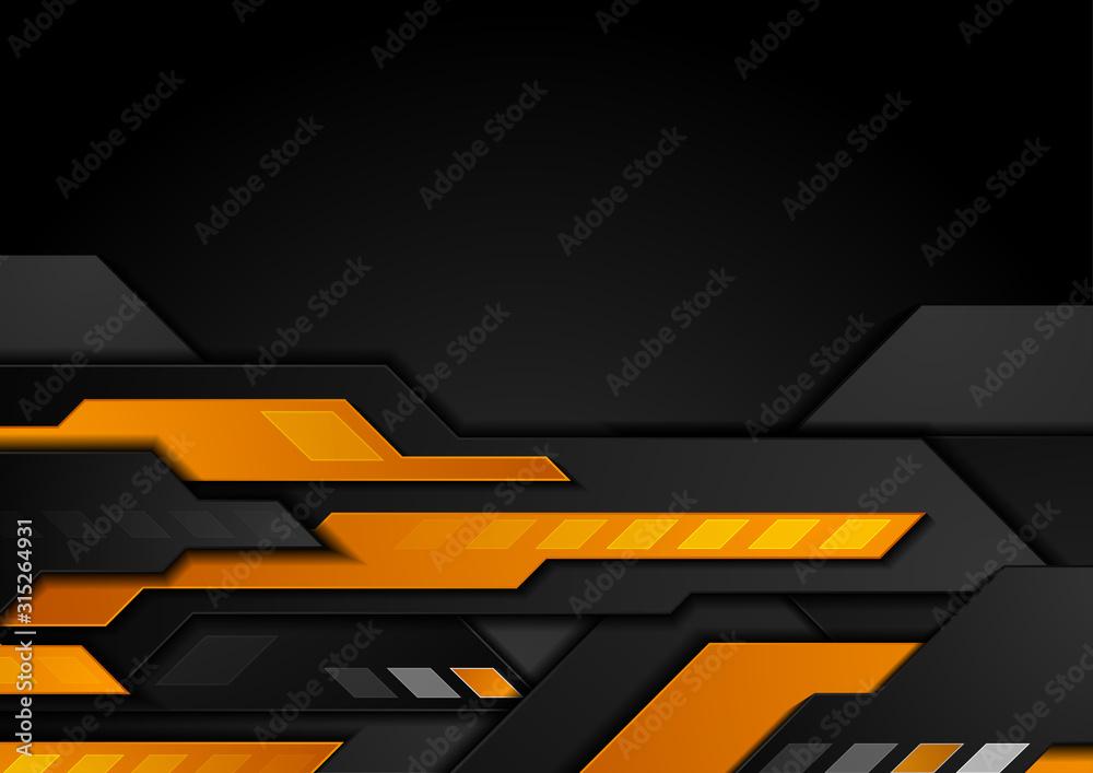 Fototapeta Orange black technology geometric abstract background. Vector design