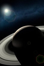 Impression Of Saturn And Ringshine
