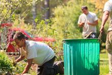 Landscapers At Work In Garden