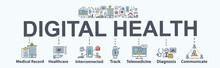 Digital Health Banner Web Icon...