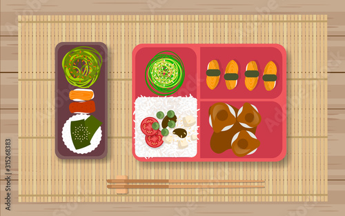 Photo Japanese food in the bento box