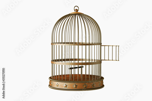 Obraz na plátně Vintage style metal open bird cage isolated on white background
