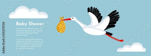 Fototapeta Baby shower banner with stork flying and carrying a bundle.