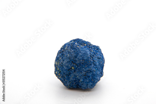 Macro of natural mineral rock specimen of raw azurite stone isolated on a white background Canvas Print