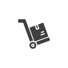 Hand Truck With Box Vector Ico...