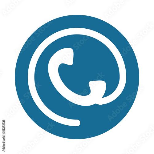 telephone communication with arroba symbol Canvas Print