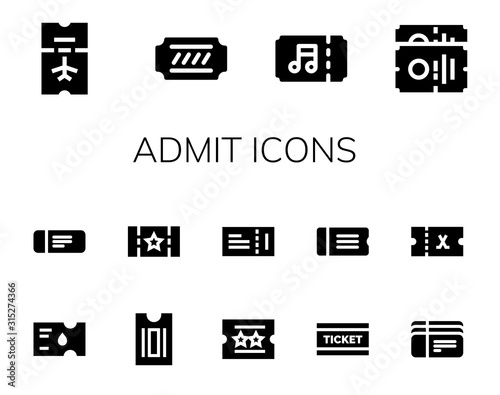 Modern Simple Set of admit Vector filled Icons Canvas Print