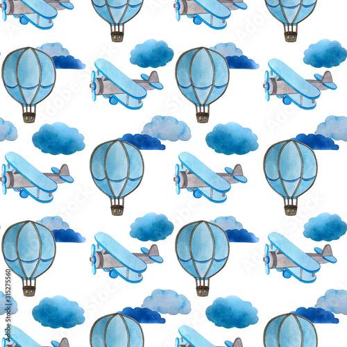 wzor-akwarela-chmury-samolot-balon