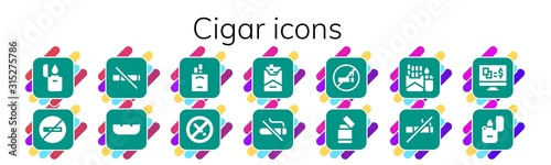 Modern Simple Set of cigar Vector filled Icons Canvas Print